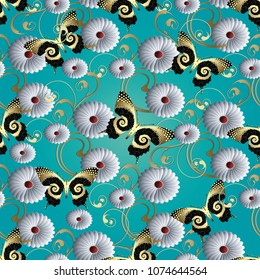 Butterflies and flowers 3d seamless pattern. Vector light blue floral background. Vintage gold line art tracery swirls, chamomile flowers, gold black dotted ornate butterflies. Elegance modern design