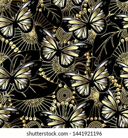 Butterflies and flowers 3d vector seamless pattern. Abstract ornamental floral background. Beautiful gold 3d dandelion flowers, dots, leaves, vintage decorative ornaments. Surface endless texture.