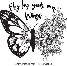 butterflies and flowers  design  style Detailed a Sketch tatoo black and white - Vetorial spring summer sticker and etc