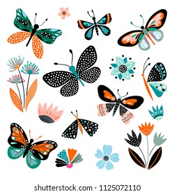 Butterflies and flowers, hand drawn collection of different element, isolated on white