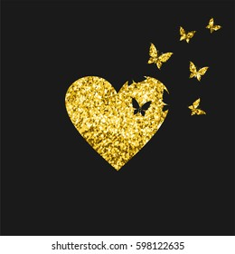 Butterflies fly from gold heart with glitter on black background. Vector illustration