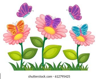 Butterflies flying in flower garden illustration