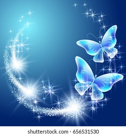 Butterflies with glowing firework and sparkle stars