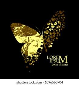 Butterflies golden abstraction. Vector