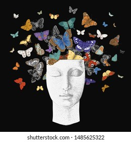 Butterflies from the head. Vector vintage classic illustration. Dark. Colorful