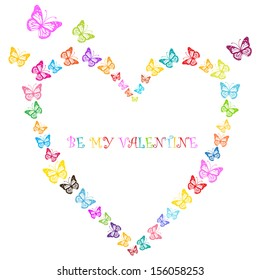 butterflies heart, valentine vector design with place for your text isolated on white background
