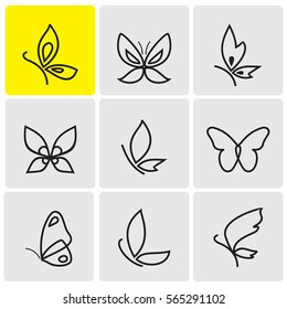 Butterflies line icons