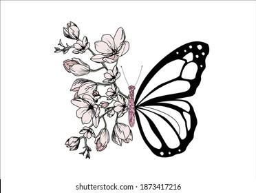 butterflies magnolia positive quote flower design margarita  mariposa stationery,mug,t shirt,phone case fashion slogan  style spring summer sticker and etc fashion design Swallowtail Metamorphosis