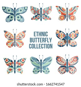Butterflies and moths collection at traditional vintage style.