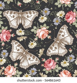 Butterflies moths insects animals fly. Seamless baroque textile. Beautiful pink red realistic flowers. Vintage background. Wallpaper. Rose Chamomile Wildflowers Floral. Vector victorian Illustration