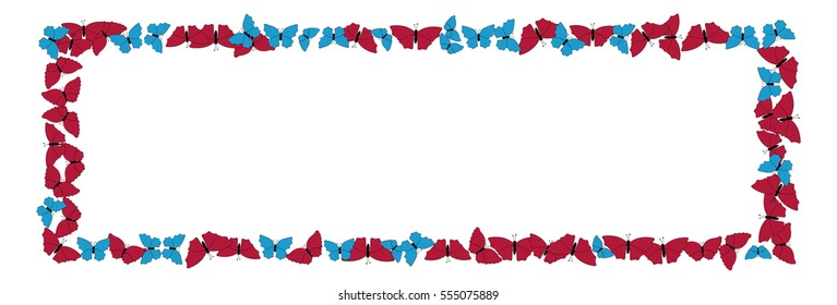 Butterflies pattern. Frame of butterflies isolated on white.