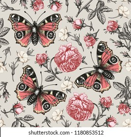 Butterflies peacock moths insect fly. Flowers seamless pattern Blooming roses agrostemma realistic isolated. Vintage fabric background. Wildflowers Drawing engraving Vector victorian Illustration