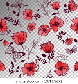 Butterflies and Poppies illustrations transparent vector background
