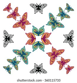 Butterflies in red, orange and green and black outline