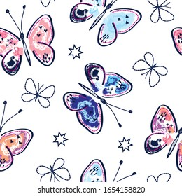 butterflies seamless pattern background, vector textile fabric print, wrapping paper