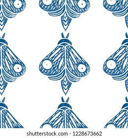 Butterflies. Seamless pattern. Linocut handmade vector illustration. Blue-gray color. Isolated on white.