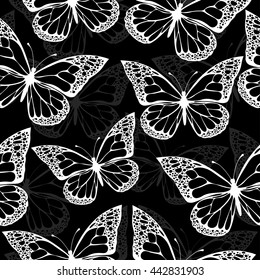 Butterflies Seamless Pattern Monochrome Coloring Book Black And White Illustration In Boho Style