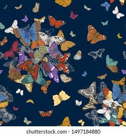 Butterflies. Seamless pattern. Vector vintage classic illustration. Colorful. Vivid color
