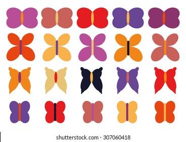 Butterflies Set Vector