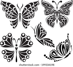 Butterflies silhouette. Drawing of lines and points. Symmetrical image. Options.