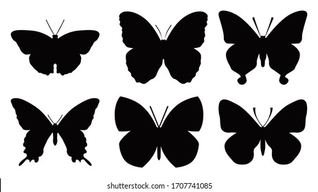 Butterflies silhouettes set, Vector illustration.