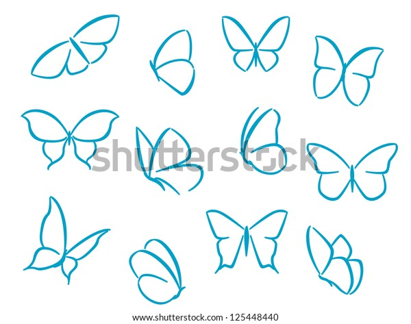 Butterflies silhouettes for symbols, icons and tattoos design, such as idea. Jpeg version also available in gallery
