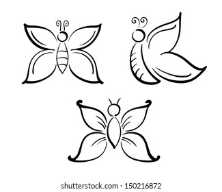 Butterflies in simple line art vector silhouette