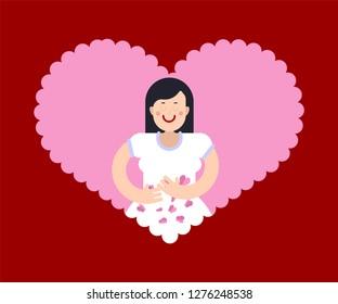 Butterflies in stomach Woman loves. Female in love.