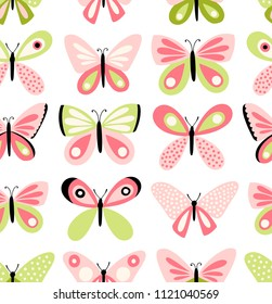 Butterflies vector pattern. Seamless background with butterfly freehand drawing. Cute girly style.
