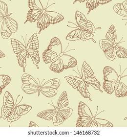 Butterflies vector seamless pattern.