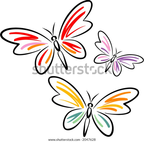 Butterflies (Vector). This is a vector image - you can simply edit colors and shapes