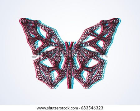 763516290b Butterfly with 3d effect. Use 3d cinema glasses with red and blue filter to  see. Vector art - Vector
