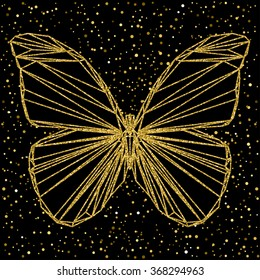 Butterfly. Abstract butterfly. Golden butterfly. Sparkle butterfly. Glitter texture. butterfly portrait drawn in one continuous line. butterfly for card, invitation, book, banner, placard. Butterfly