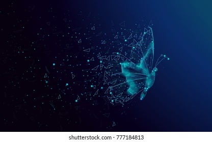 Butterfly abstract isolated on blue background. For web site, poster, placard and wallpaper. Useful for cover and flyer. Creative art, modern abstract concept