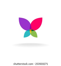 Butterfly abstract logo. Colorful vector silhouette of a butterfly with throw open wings. Transparency are flattened.