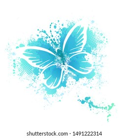 Butterfly abstract with stains of paint. Vector illustration