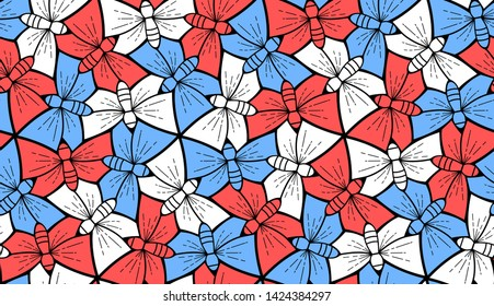 Butterfly, background in Escher style, seamless pattern vector illustration