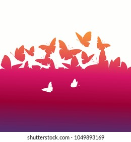 Butterfly background. Silhouette illustration.