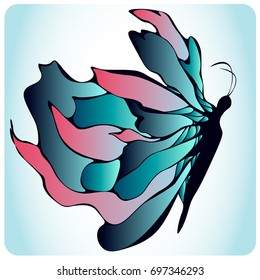 Butterfly with big blue and pink wings on light blue background. Vector illustration for posters, greeting and invitation cards, print and web projects.