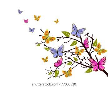 butterfly branch - vector