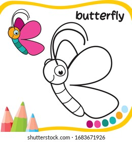 butterfly cartoon - coloring for kids