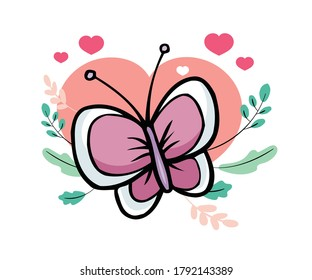 Butterfly Cartoon illustration stock vector, Butterfly character icon flat illustration vector, T Shirt Print, Web icon Symbol logo Design, Valentines Greeting Card Design