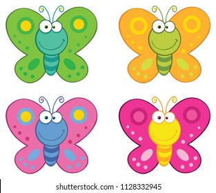 Butterfly Cartoon Mascot Character Set. Vector Collection Isolated On White Background