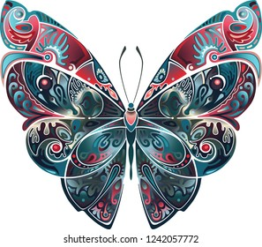Butterfly collected from the ornament. Sunset color palette.