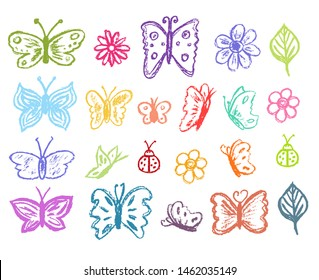 Butterfly collection. Children drawling style color butterflies set. Hand drawn wax crayons art on white background. Isolated chalk style icons. Butterfly, ladybug, ladybird, flowers, leaves, chamomile