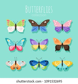 Butterfly collection illustration. Spring butterflies isolated on white background with colored wings vector illustration