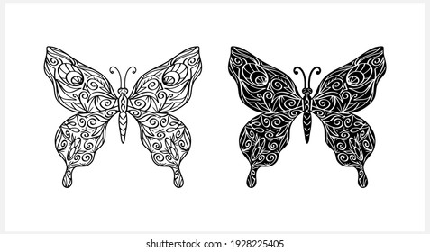Butterfly collection. Sketch animal icon isolated on white. Zentagle vector stock illustration. EPS 10
