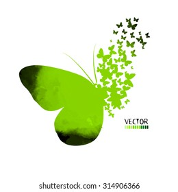Butterfly, colorful green abstract mosaic. Vector