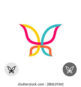 Butterfly colorful lines silhouette logo