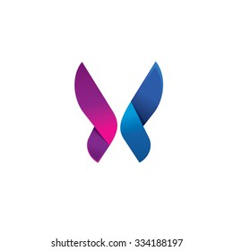 Butterfly colorful logo template with shadow on wings. Abstract butterfly shape in blue and violet colors. Beautiful modern vector butterfly icon design for business card, brand or identity.